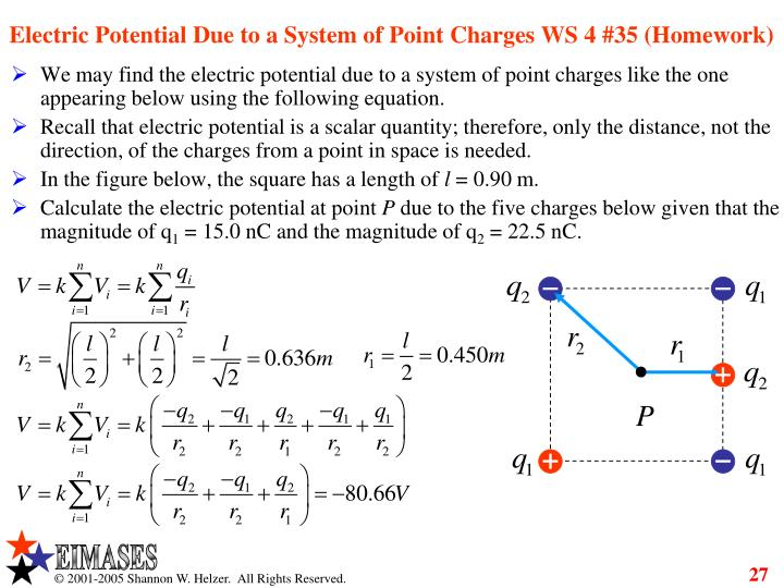 Electric Potential Due to a System of Point Charges WS 4 #35 (Homework)