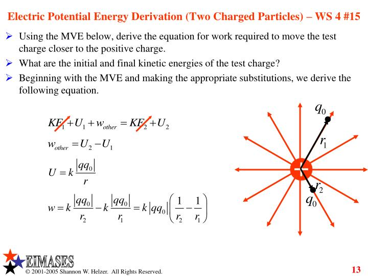 Electric Potential Energy Derivation (Two Charged Particles) – WS 4 #15