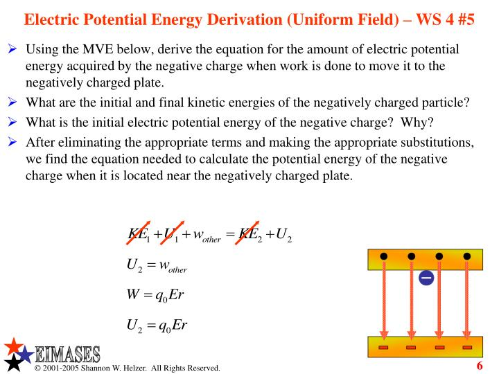 Electric Potential Energy Derivation (Uniform Field) – WS 4 #5