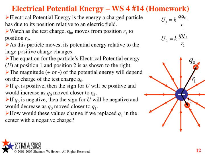 Electrical Potential Energy – WS 4 #14 (Homework)