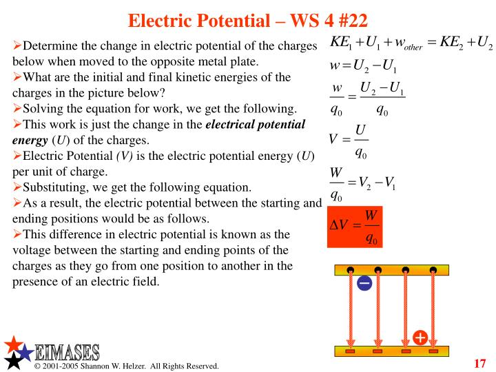 Electric Potential – WS 4 #22