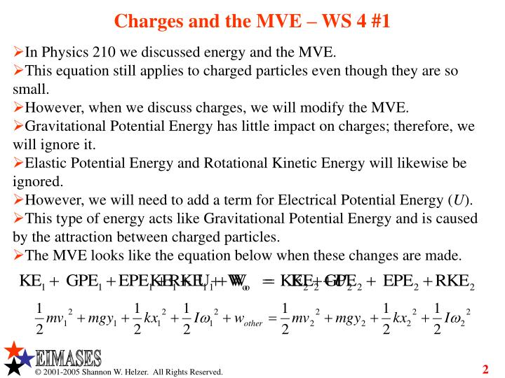 Charges and the MVE – WS 4 #1