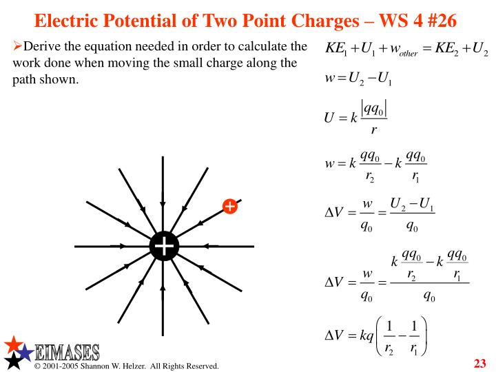 Electric Potential of Two Point Charges – WS 4 #26