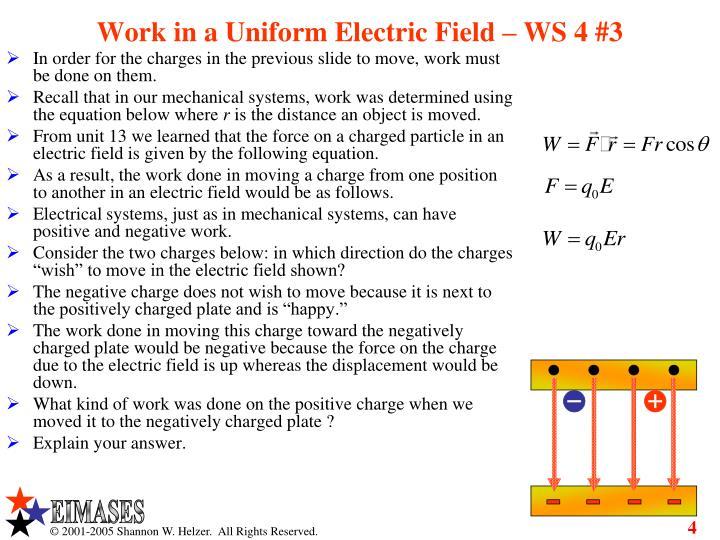 Work in a Uniform Electric Field – WS 4 #3