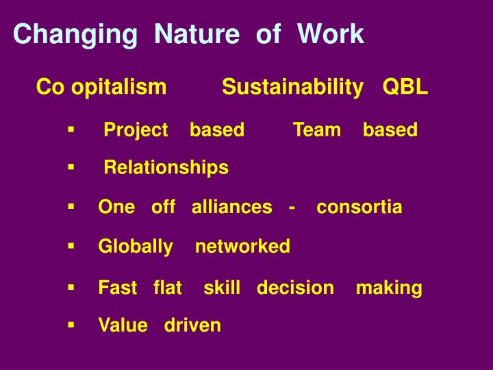 Co opitalism         Sustainability   QBL