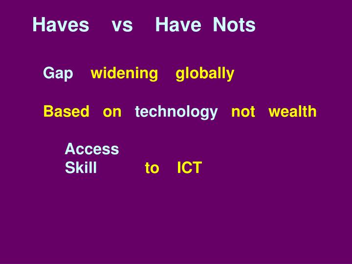 Haves    vs    Have  Nots