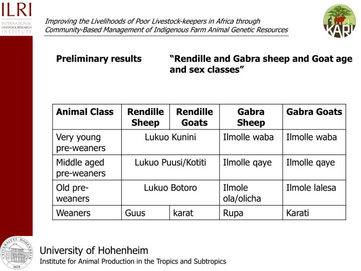 "Preliminary results""Rendille and Gabra sheep and Goat age and sex classes"""