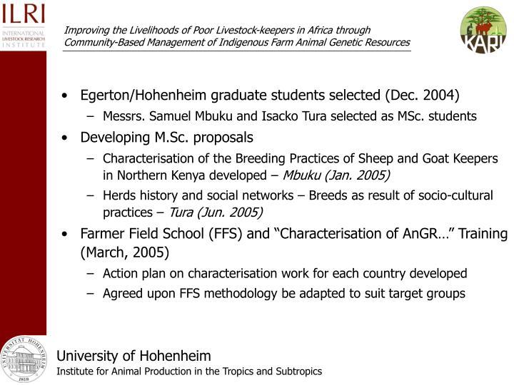 Egerton/Hohenheim graduate students selected (Dec. 2004)