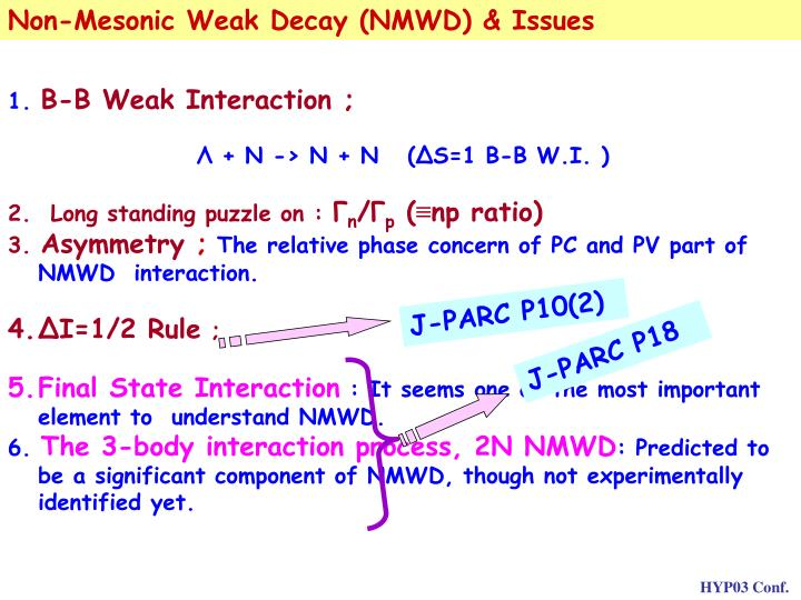 Non-Mesonic Weak Decay (NMWD) & Issues