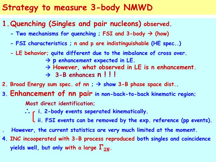 Strategy to measure 3-body NMWD