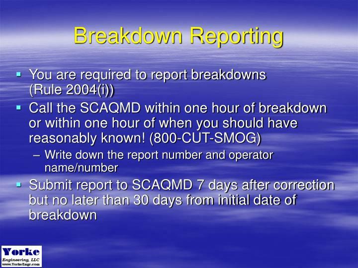 Breakdown Reporting