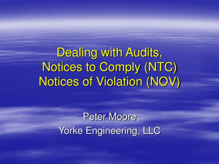Dealing with Audits,