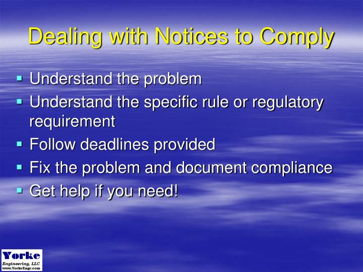 Dealing with Notices to Comply