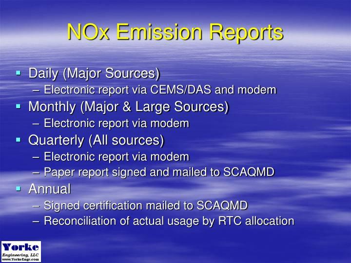 NOx Emission Reports