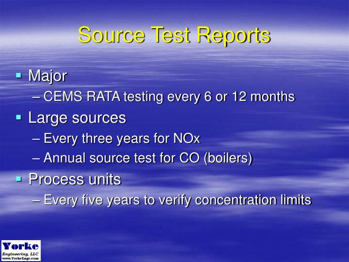 Source Test Reports