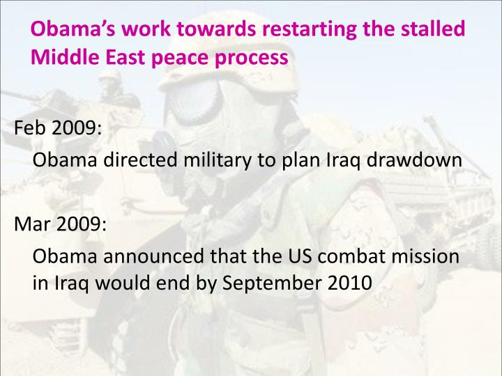 Obama's work towards restarting the stalled Middle East peace process