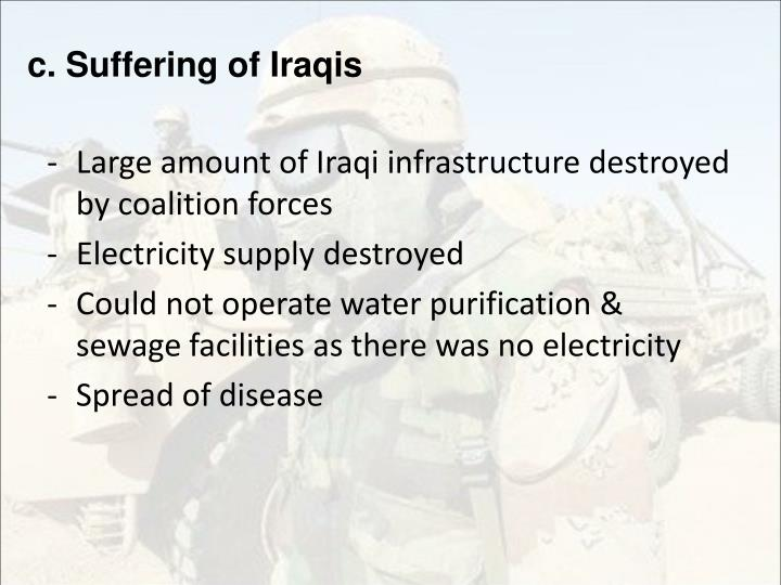 c. Suffering of Iraqis