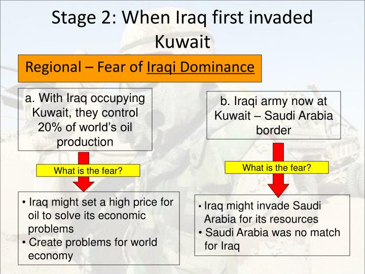 Stage 2: When Iraq first invaded Kuwait