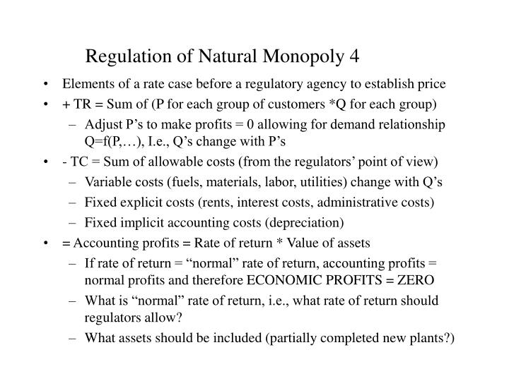 natural monopoly 4 essay Find out what a natural monopoly is and why they exist learn about some everyday services that you use that are provided by companies that are.