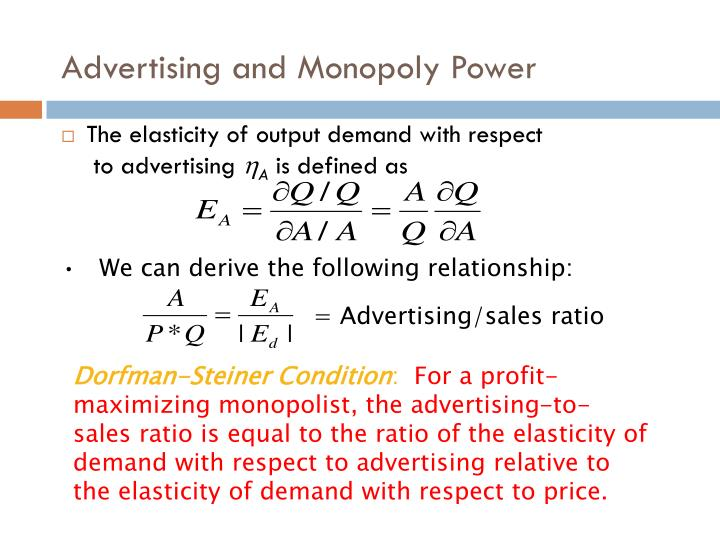 Advertising and Monopoly Power
