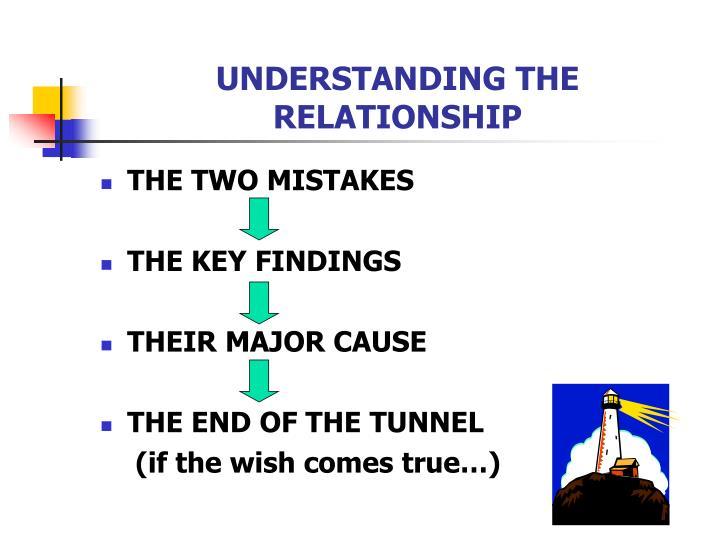 UNDERSTANDING THE RELATIONSHIP