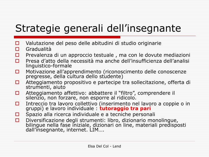 Strategie generali dell'insegnante