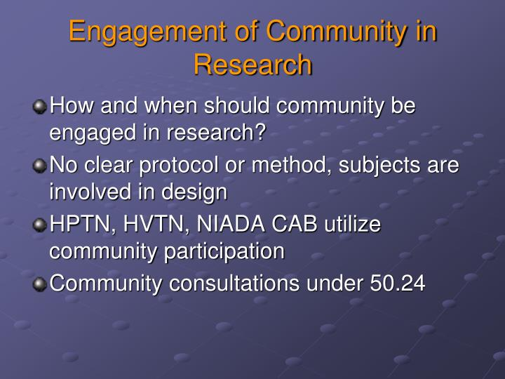 Engagement of Community in Research