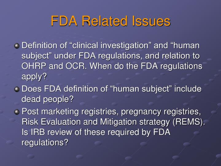 FDA Related Issues