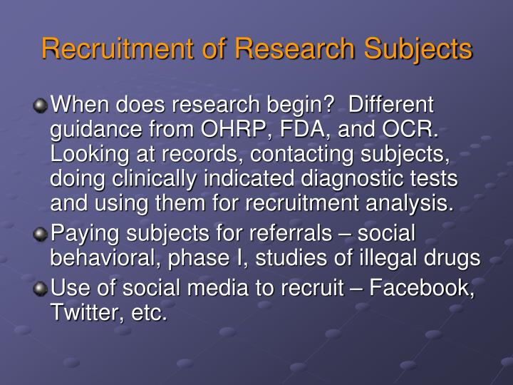 Recruitment of Research Subjects