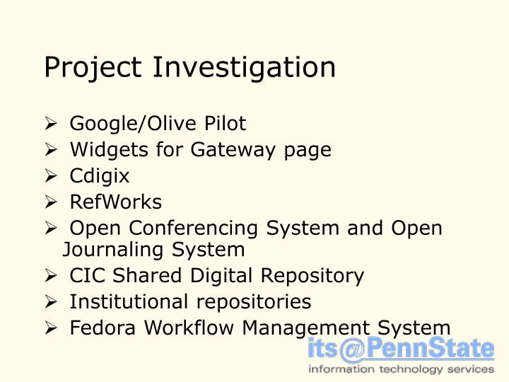 Project Investigation