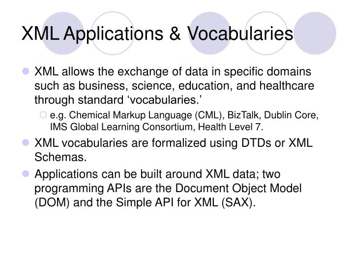 XML Applications & Vocabularies