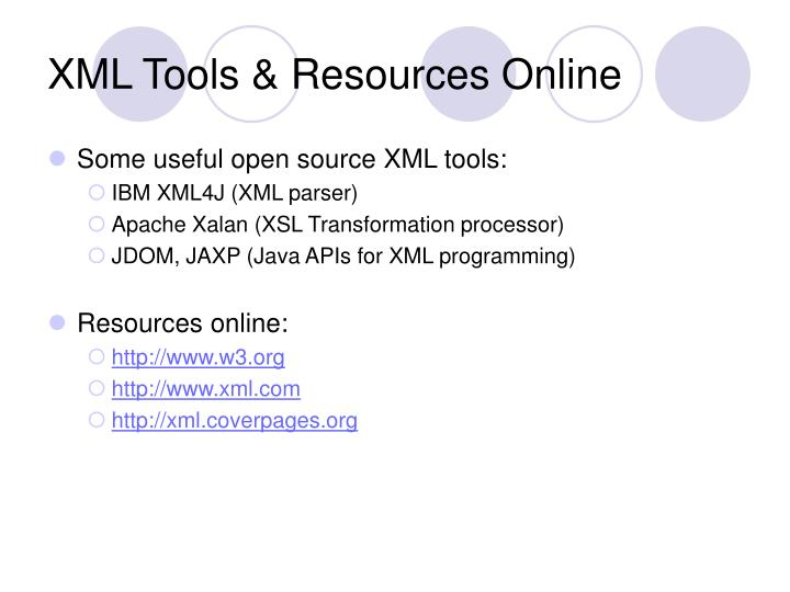 XML Tools & Resources Online
