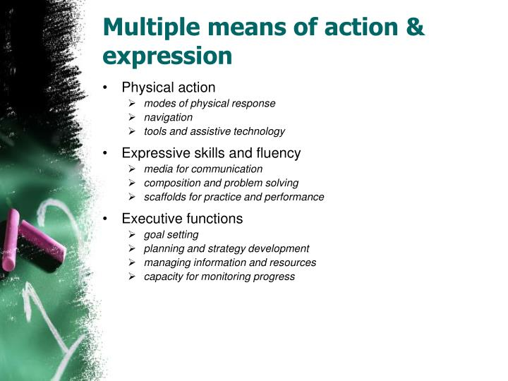 Multiple means of action & expression
