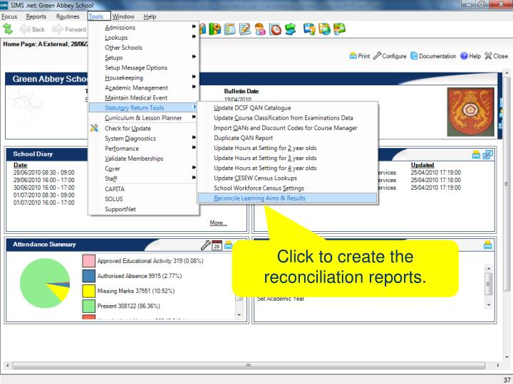 Click to create the reconciliation reports.