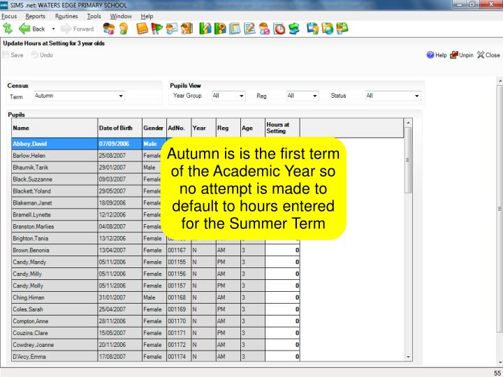 Autumn is is the first term of the Academic Year so no attempt is made to default to hours entered for the Summer Term