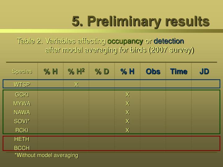 5. Preliminary results