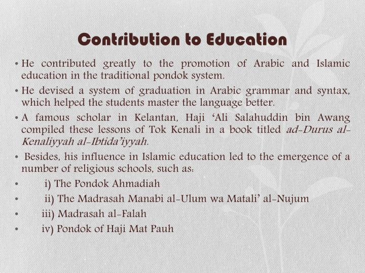 Contribution to Education