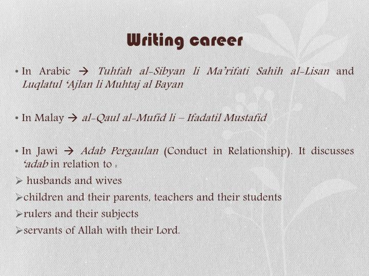 Writing career