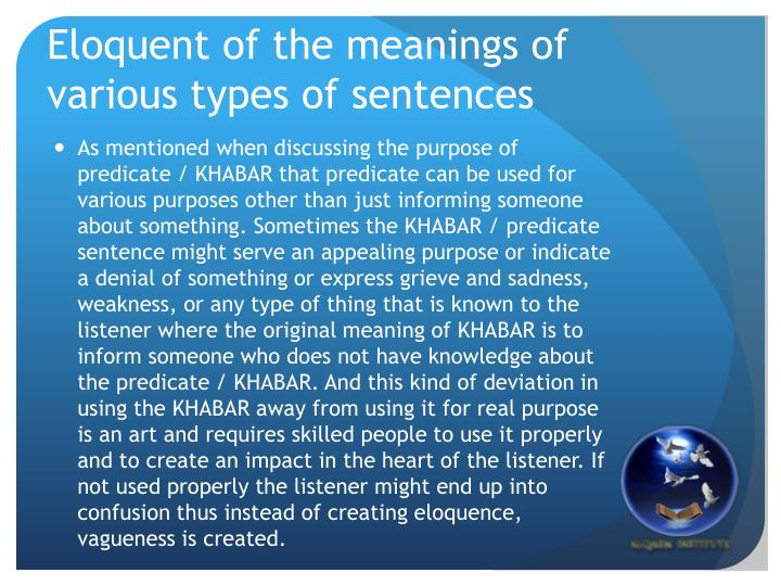 Eloquent of the meanings of various types of sentences