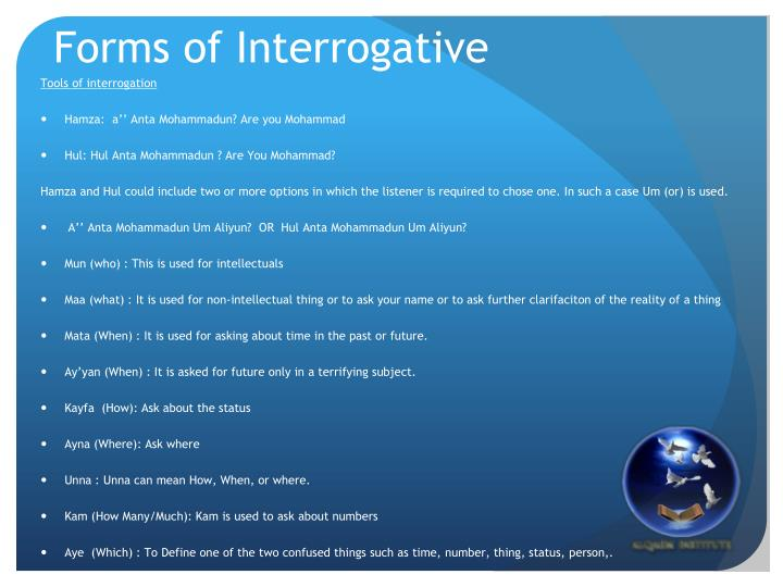 Forms of Interrogative