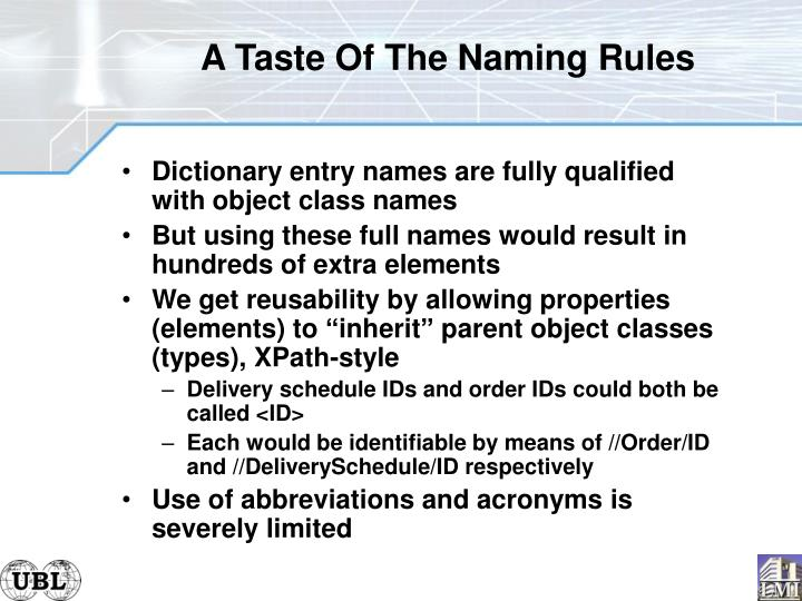 A Taste Of The Naming Rules