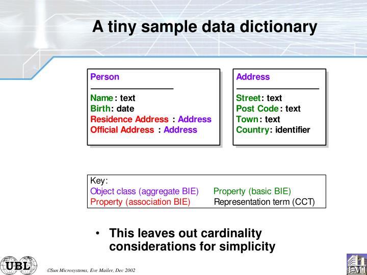A tiny sample data dictionary