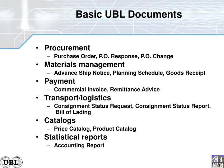 Basic UBL Documents