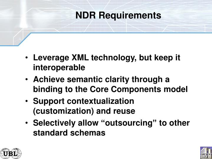 NDR Requirements