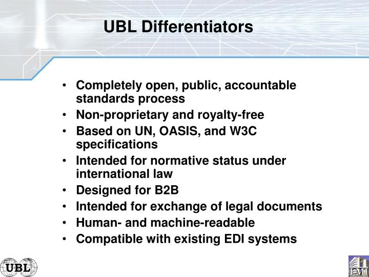 UBL Differentiators