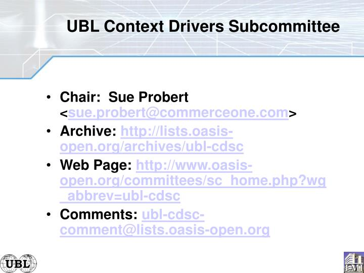 UBL Context Drivers Subcommittee