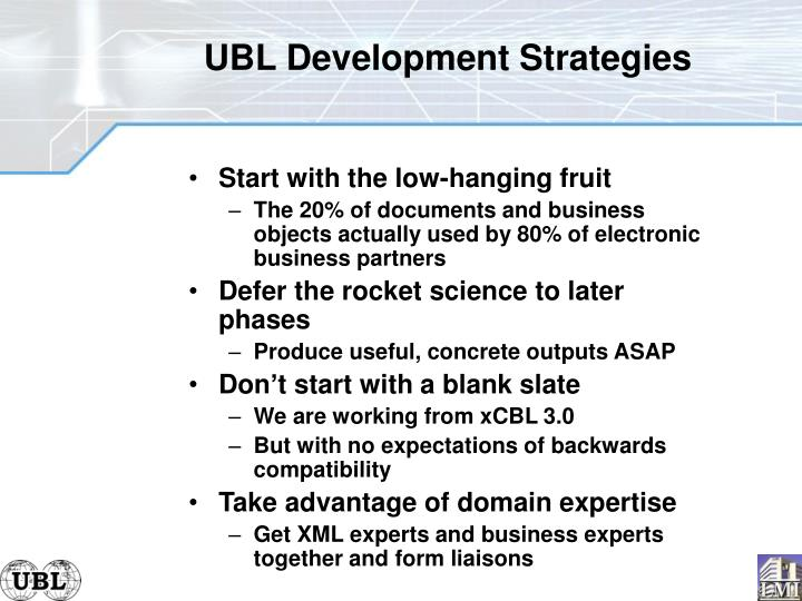 UBL Development Strategies