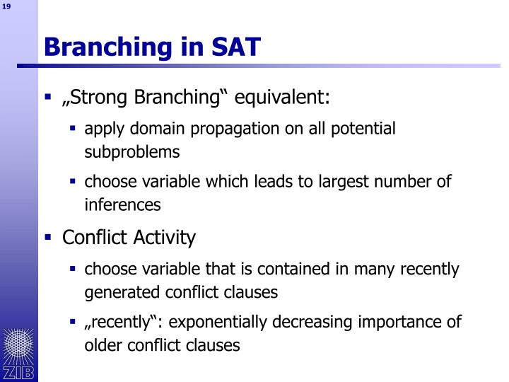 Branching in SAT