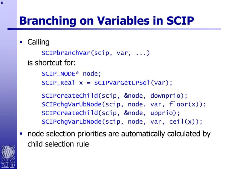 Branching on Variables in SCIP