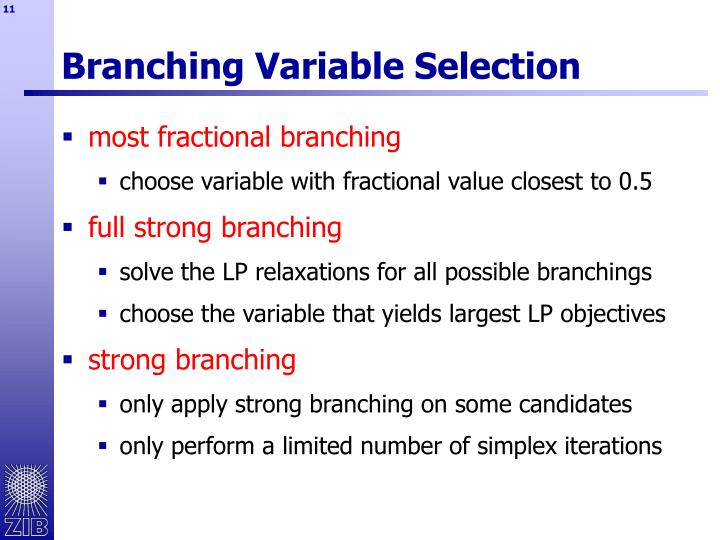 Branching Variable Selection